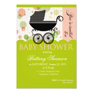 """Elegant Retro Carriage Baby Shower Party lime pink 5"""" X 7"""" Invitation Card"""