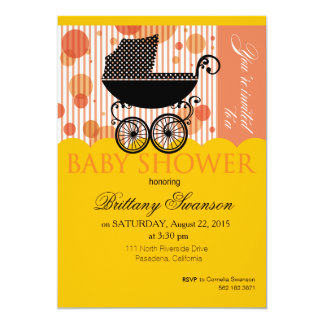 Elegant Retro Carriage Baby Shower Party marigold 5x7 Paper Invitation Card