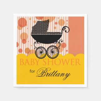 Elegant Retro Carriage Baby Shower Party marigold Napkin