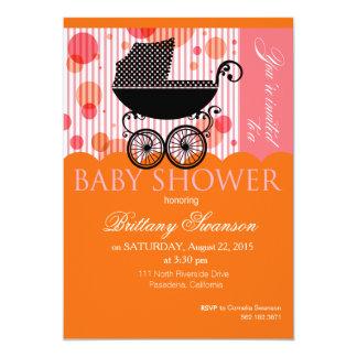 Elegant Retro Carriage Baby Shower Party orange 5x7 Paper Invitation Card