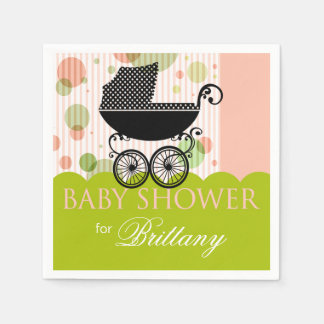 Elegant Retro Carriage Baby Shower Party pink lime Paper Napkin