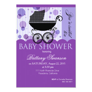 Elegant Retro Carriage Baby Shower Party purple 5x7 Paper Invitation Card