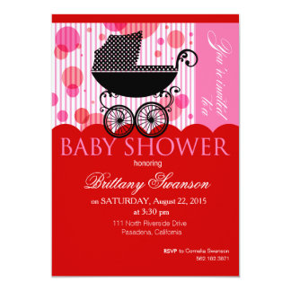 Elegant Retro Carriage Baby Shower Party red 5x7 Paper Invitation Card