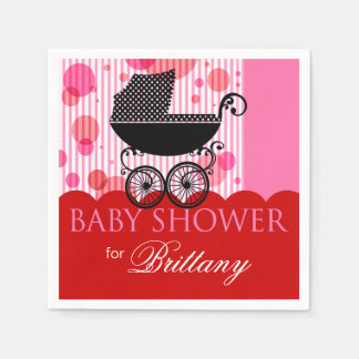 Elegant Retro Carriage Baby Shower Party red Paper Napkin