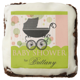 Elegant Retro Carriage Baby Shower | pink lime Brownie