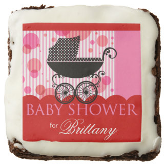 Elegant Retro Carriage Baby Shower | red pink Chocolate Brownie