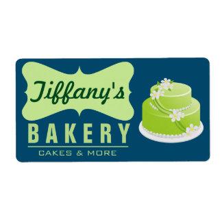 Elegant Retro Cute Cake Shop | Blue Green | Bakery Label