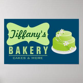Elegant Retro Cute Cake Shop | Blue Green | Bakery Poster