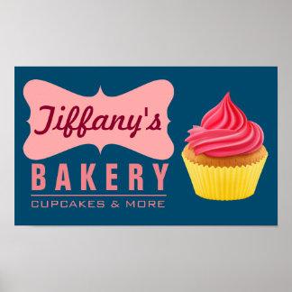 Elegant Retro Cute Cake Shop Pink Cupcake Bakery Poster