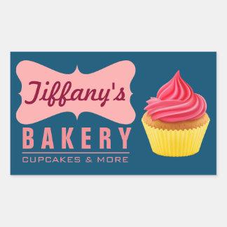 Elegant Retro Cute Cake Shop Pink Cupcake Bakery Rectangular Sticker