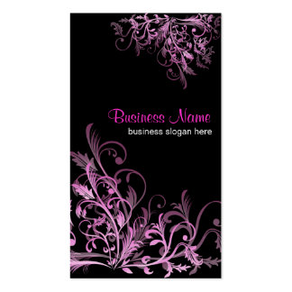 Elegant Retro Cyclam Flower Swirls 2 Double-Sided Standard Business Cards (Pack Of 100)