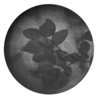 Elegant retro dark grey artistic floral photo dinner plate