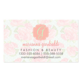 Elegant Retro Floral Pink Mint Girly Personalized Business Card Template