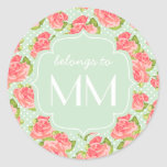 Elegant Retro Floral Pink Mint Girly Personalized Classic Round Sticker