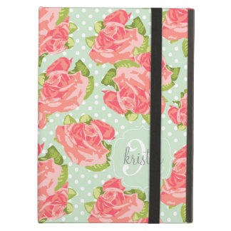 Elegant Retro Floral Pink Mint Girly Personalized iPad Air Cover