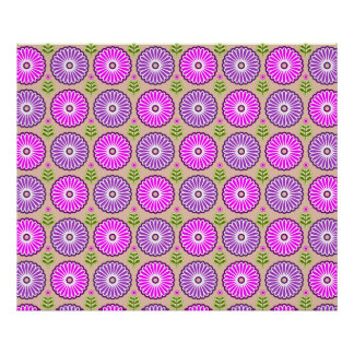 Elegant retro flowers in pink and purple posters