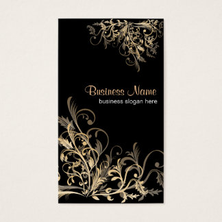 Elegant Retro Gold Flower Swirls 2 Business Card