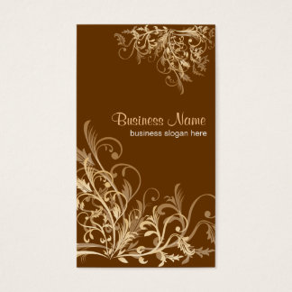 Elegant Retro Gold Flower Swirls 3 Business Card