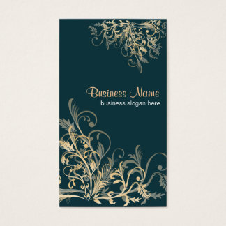 Elegant Retro Gold Flower Swirls 5 Business Card