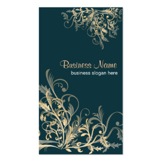 Elegant Retro Gold Flower Swirls 5 Double-Sided Standard Business Cards (Pack Of 100)