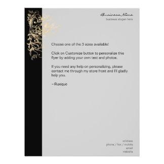Elegant Retro Gold Flower Swirls Black Flyer Design