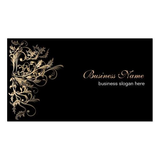 Elegant Retro Gold Flower Swirls Business Card Templates
