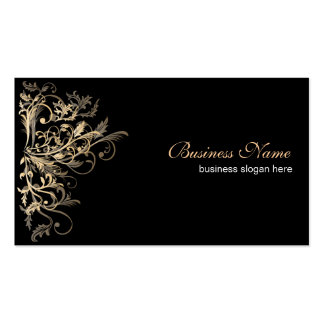 Elegant Retro Gold Flower Swirls Double-Sided Standard Business Cards (Pack Of 100)