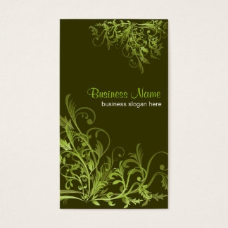 Elegant Retro Green Flower Swirls 3 Business Card