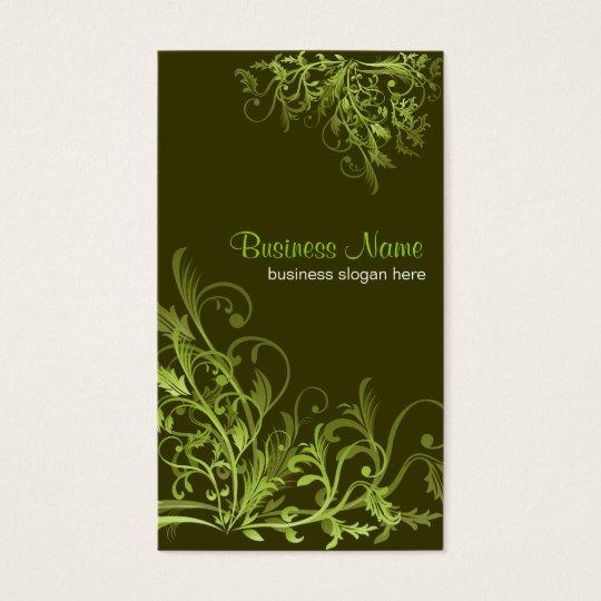 Elegant Retro Green Flower Swirls 3 Business Card