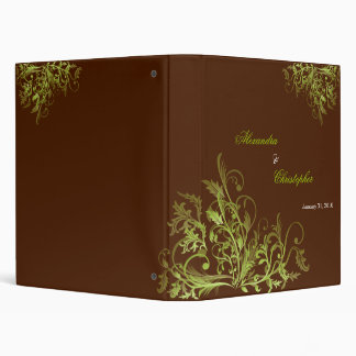 Elegant Retro Green Flower Swirls Brown Album Vinyl Binders