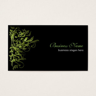 Elegant Retro Green Flower Swirls Business Card