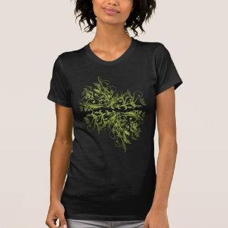 Elegant Retro Green Flowers Swirls T-Shirt