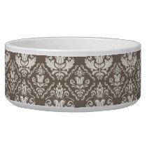 Elegant Retro Ivory Damask Brocade Brown Pattern Bowl