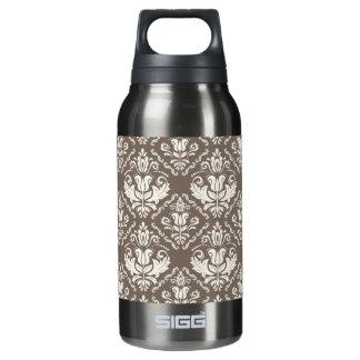 Elegant Retro Ivory Damask Brocade Brown Pattern Insulated Water Bottle