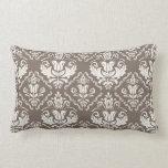 Elegant Retro Ivory Damask Brocade Brown Pattern Pillow