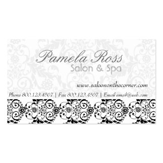 Elegant Retro Lace Hair Salon Damask Double-Sided Standard Business Cards (Pack Of 100)