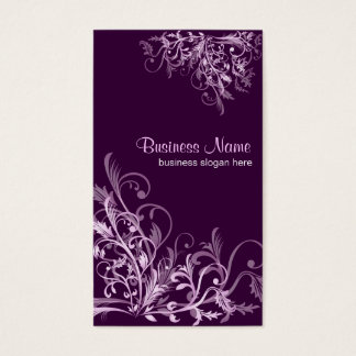 Elegant Retro Lavender Flower Swirls 3 Business Card