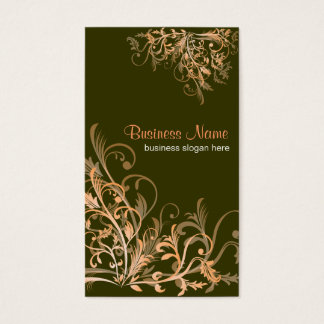 Elegant Retro Orange Flower Swirls 4 Business Card