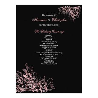 Elegant Retro Pink Flower Swirl Wedding Program Card