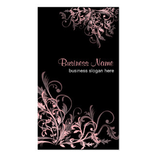 Elegant Retro Pink Flower Swirls 2 Double-Sided Standard Business Cards (Pack Of 100)