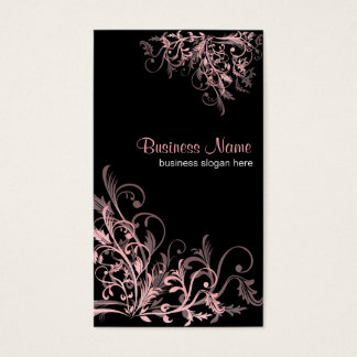 Elegant Retro Pink Flower Swirls 2 Business Card