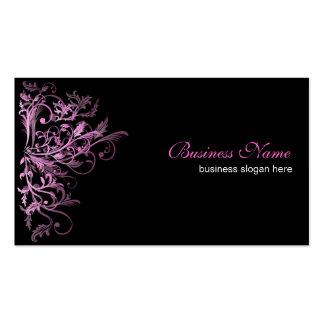 Elegant Retro Pink Flower Swirls Business Card Templates
