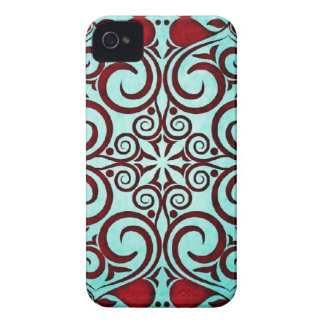 Elegant Retro Punch Close Up Teal Damask Swirls iPhone 4 Cases