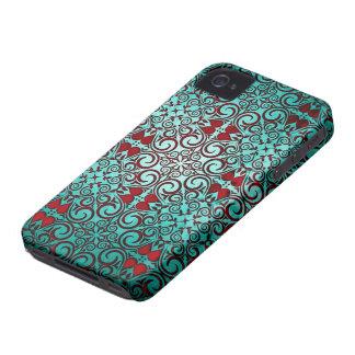 Elegant Retro Punch Teal Damask Swirls Case-Mate iPhone 4 Cases