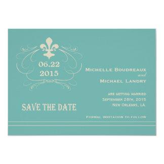 Elegant Retro Style Fleur de Lis Save the Date Card