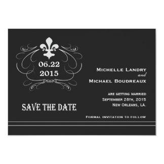 "Elegant Retro Style Fleur de Lis Save the Date 4.5"" X 6.25"" Invitation Card"