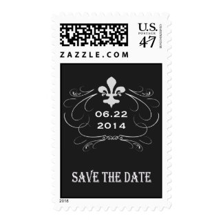 Elegant Retro Style Fleur de Lis Save the Date Postage