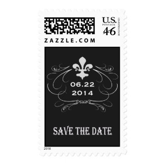 Elegant Retro Style Fleur de Lis Save the Date Postage Stamps