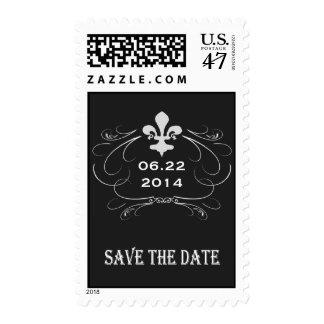 Elegant Retro Style Fleur de Lis Save the Date Stamp