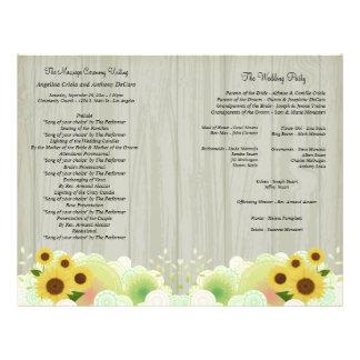 Elegant Retro Sunflower Formal Wedding Program